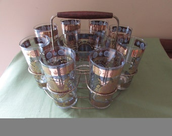 Vintage Glassware and Ice Bucket in Caddy - Gold Medallion Design - NEW LOWER PRICE