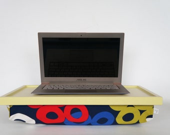 Laptop stand, Decorative pillow tray, Breakfast serving Tray- light yellow tray with blue cotton pillow printed with multicolor  graphics