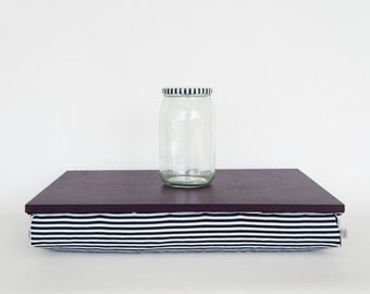 Wooden bed tray with pillow, serving Tray - dark plum purple tray, black and white stripe Pillow