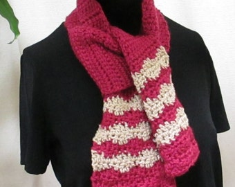 Unisex Scarf, Team Scarf. Team Spirit, Striped Scarf, School Colors in Burgundy and Beige in Stock, 21801