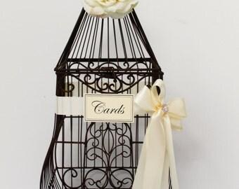 Wedding Birdcage Card Holder / Card Box / Cardholder / Ex Large Birdcage / Wedding Decorations / Elegant Wedding Cardholder / Brown Birdcage