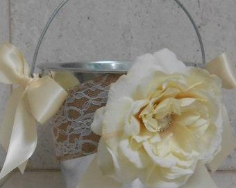 Flower Girl Bucket / Flower Girl Basket / Flower Girl Wedding Pail / Silver Metal Bucket / Wedding Decorations / Burlap Flower Girl Pail