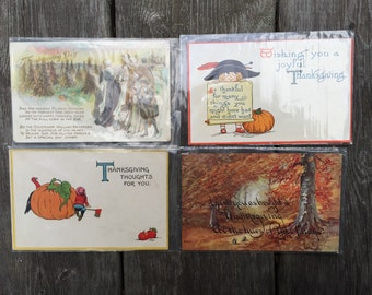 SALE Antique Thanksgiving Postcard Lot of 4