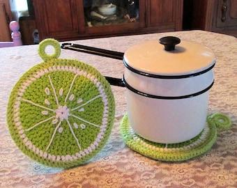 Lg Crochet Lime Slice Potholder/Hotpad