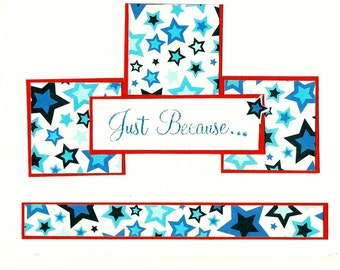 Red White and Blue Patriotic Stars Just Because Greeting Card