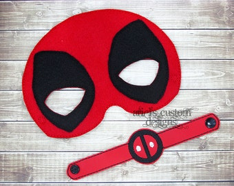 Deadpool MASK and BRACELET - Felt Dress Up Masks - Birthday Party Favor Halloween
