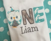 First birthday owl bodysuit for baby boy with name amd age