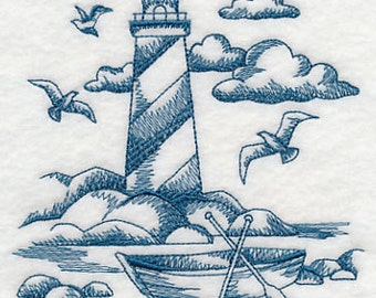 Toile Lighthouse Embroidered Flour Sack Hand/Dish Towel