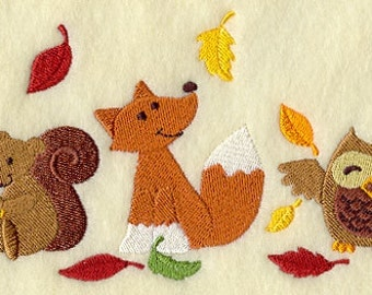 Autumn Creatures Trio Embroidered Flour Sack Hand/Dish Towel
