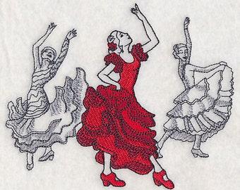 Flamenco Dance Fashion Dancing - Embroidered Flour Sack Hand/Dish Towel