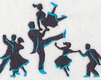 Swing Silhouette Dance Fashion Dancing - Embroidered Flour Sack Hand/Dish Towel