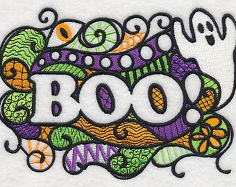 Blackwork BOO Ghosts Embroidered Flour Sack Hand/Dish Towel