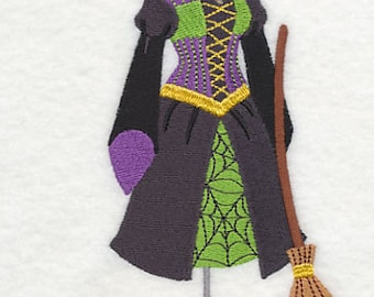 Witch Dress Form Embroidered Flour Sack Hand/Dish Towel