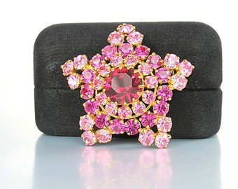 Pink crystal Brooch, Made in Austria Fuchsia Pink Red Rhinestone Snowflake Brooch vintage jewelry