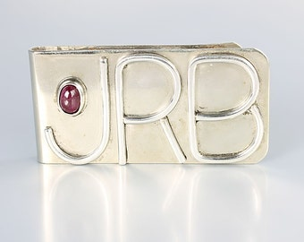 Sterling silver Money Clip, initials JRB, ruby accent vintage mens accessories