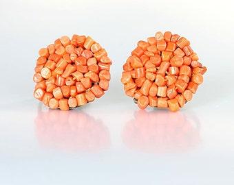 Coral chip Earrings sterling silver, Pinwheel Vintage screw back Earrings, 1940s jewelry
