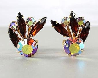 Navette Topaz rhinestone Earrings, Aurora Borealis, Vintage Earrings Beau Jewels