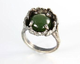 Vintage Brutalist Ring, Jade Sterling silver Ring, modernist size 6.25 Oxidized