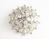 Vintage Schreiner Brooch Clear Crystal Rhinestone Domed unsigned
