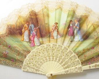 Vintage Celluloid Lace Canvas Hand Fan 1940s