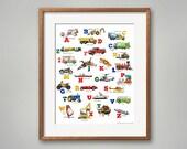 ABC Things That Go! Transportation Art Print