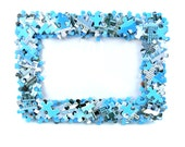 Jigsaw Puzzle Covered Free Standing or Wall Photo Frame 4x6 inch Photos Game Blue Boys Bedroom Kids Room Man Cave Decoration Gift for Him