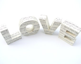 LOVE Sign Music Themed Wedding Gift Personalized Present for Couples Sheet Music Quirky Home Decor Anniversary Valentines Engagement Letters