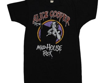 Alice Cooper 1979 Mad House Rock Tour t Shirt 1970s Vintage Concert tee Heavy Metal 70s Shock Rock