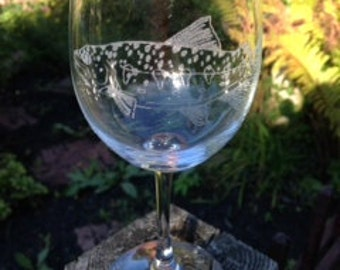 Fish Trout Etched Glassware