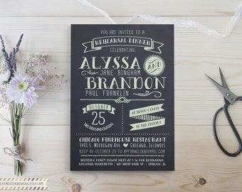 Modern Typography Chalkboard Rehearsal Dinner DIY Printable OR Printed Invitations