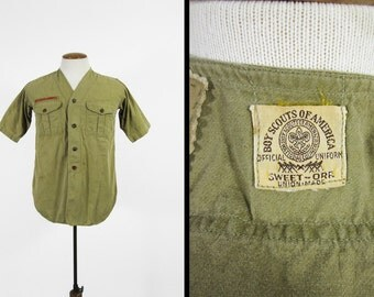 Vintage 1930s Boy Scout Shirt Sweet Orr Short Sleeve BSA Twill Union Made - Size Small