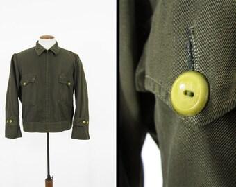 Vintage 50s Whipcord Work Jacket Olive Drab Uniform Workwear - Size 46