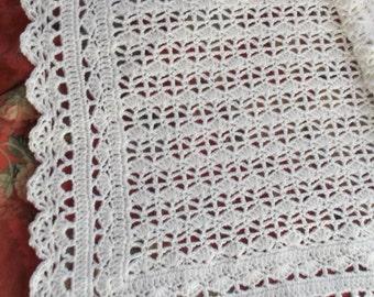 Crocheted White Baby Afghan (bk115)