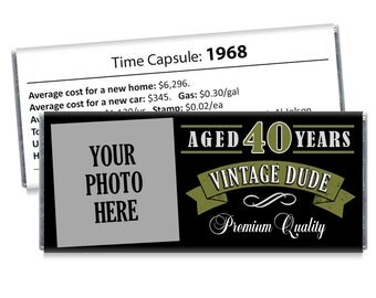 Set of 12 - Vintage Dude Candy Bar Wrappers with Photo - Adult Milestone Favors 40th, 50th, 60th, 70th, 80th Any Age