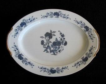 Seyei Fine China Blue Meissen Oval Platter Pattern 5112  12 1/2 Inch