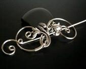 Spiral Shawl Pin, Scarf Pin, Flower brooch, Sweater Brooch, Knitting Accessories, Silver Wire pin, Fibula