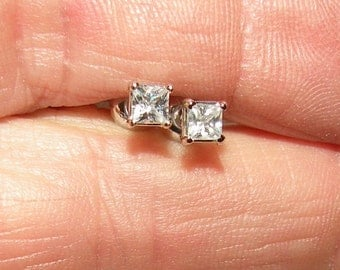 14kt Princess Cut White Sapphire(diamond-like)Earrings