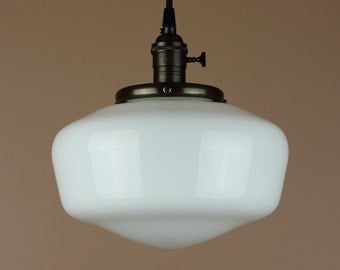 """Pendant Light w/ 9.5"""" School House Globe - Reproduction Lighting w/ Antique Style Cloth Wire - Hand Finished in Oil Rubbed Bronze"""