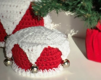 Christmas Jester hat - Jingle Bell Hat - Elf Hat - Christmas hat - Photo Prop - Holiday Hat - Crochet All Sizes