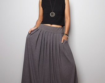 Maxi Skirt - Grey Skirt-  Long Top Grey Skirt : Urban Chic Collection No.2