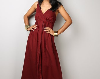 Burgundy Dress - Empire Maxi Dress Bridesmaid Summer Party Dress : Love Party Collection