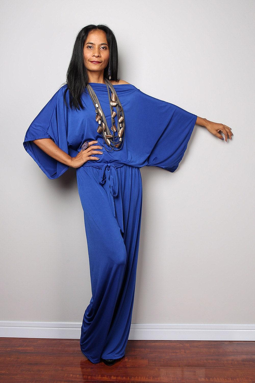 Blue Dressy Plus Jumpsuit: Blue Jumpsuit Royal Blue Jumper Maxi Dress : Chic & Casual