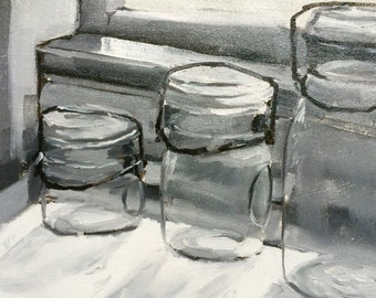 Mason Jar, Original Oil Painting, Original Art, Art, Gray Scale Painting, 8x10 Paintings