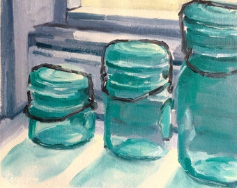 Aqua Mason Jars Painting, Mason Jars, Original Oil Painting, Art, Original Artwork