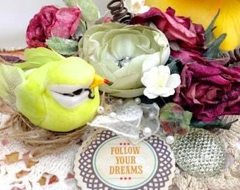Follow Your Dreams Gift Box   Handmade Shabby Chic Decoration Box - Shabby Chic Keepsake Box    Altered Box Bride Gifts for couples