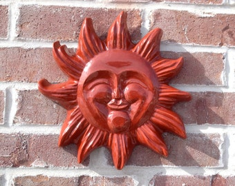 Happy Sun Face Large - Concrete Sun Face - stained red