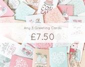 SALE Any 3 Cards - Birthday - Valentines - Thank You - Celebration - Anniversary - Hello