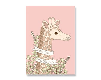 SALE Stand Tall Giraffe A4 Illustration Print