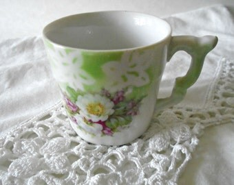 Sweet Little Teacup / Germany / Childs Tea Cup / White Flowers / Mint Green / Delicate / Tea Party / Purple Flowers / Collectible TeaCup