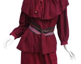 Yves Saint Laurent SAINT LAURENT Vintage 70s Burgundy Mohair Cape & Matching Skirt Russian Collection